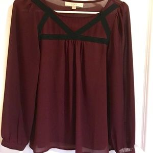 Loft S petite sheer burgundy blouse lace detail